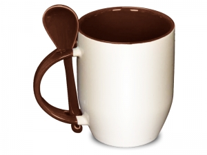 Color brown spoon mug