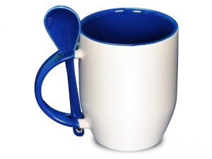 Color dark blue spoon mug