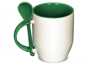 Color dark green spoon mug