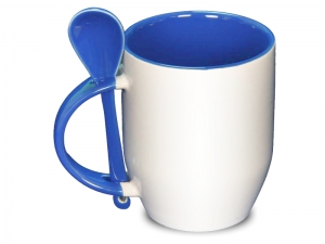 Color light blue spoon mug