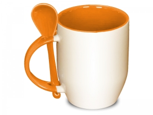 Color orange spoon mug