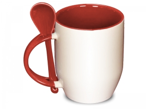 Color red spoon mug